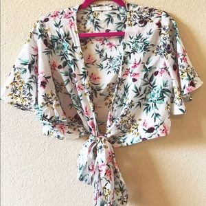 Floral Tie-Up Top with Short Flowy Sleeves